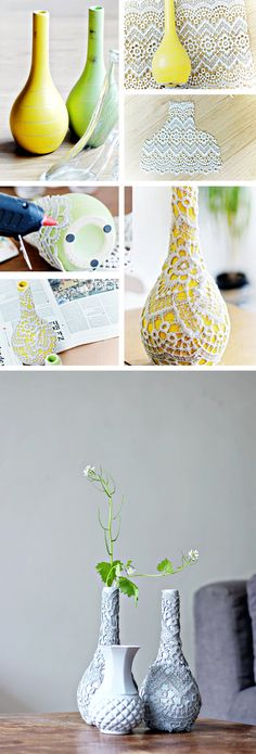 Upcycle your vases with lace! - diy