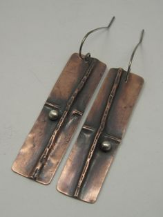 Mixed Metal Rectangular Fold formed Earrings Not by AmorphicMetals, $25.00