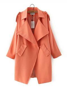 Orange Collar Single Button Long Casual Trench Coat
