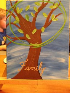 The finished project had a family member name beside each leaf. It can say the family name or just family across the trunk. $30