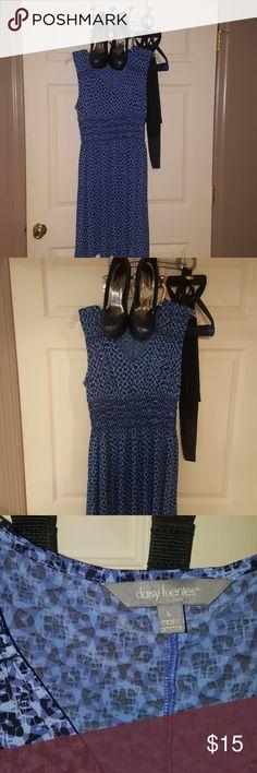 Women's Dress Daisy Fuentes Blue and BLACK Sz Lrg Daisy Fuentes Dresses
