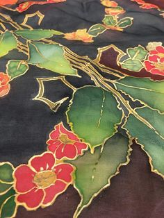 Table Cloth Handmade Silk Painted Feng Shui Bagua Embroidery Neck Designs, Chiffon Scarf, Mode Vintage, Silk Painting, Scarf Styles, Feng Shui, Glass Art, Hand Painted, Suits