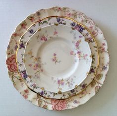 Mismatched vintage china. I love this look!
