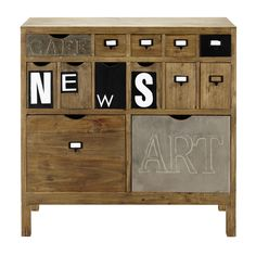 Cabinet de rangement en bois L 91 cm News | Maisons du Monde