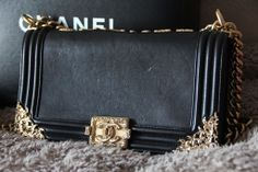 Authentic Chanel Le Boy Flap Bag Medium Black Leather with Gold Ornate  Hardware a859d9e682159