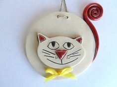 Ceramic cat clay cat pottery cat by potteryhearts on Etsy, $10.00