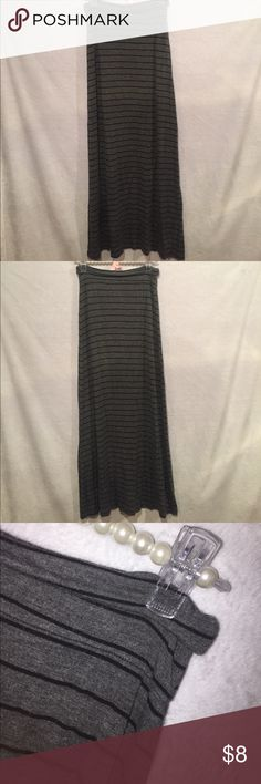 Grey and black striped maxi skirt. Women's S. Long, fold-over grey and black striped maxi skirt. Brand: T Party. Excellent condition, almost never worn :) T Party Fashion Skirts Maxi