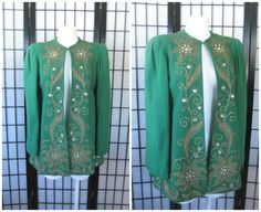 Unique Vintage 1940s Evening Jacket Green Wool Faux by girlgal6 #1940s #40s #OldHollywood #Glamour