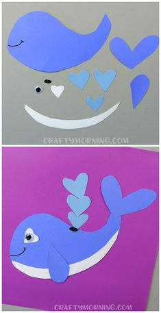Heart whale valentine craft for kids to make! Cute idea for an art project. (Heart shape animal for valentines day) Heart whale valentine craft for kids to make! Cute idea for an art project. (Heart shape animal for valentines day) Valentine's Day Crafts For Kids, Valentine Crafts For Kids, Summer Crafts, Toddler Crafts, Preschool Crafts, Projects For Kids, Art For Kids, Craft Activities, Homemade Valentines