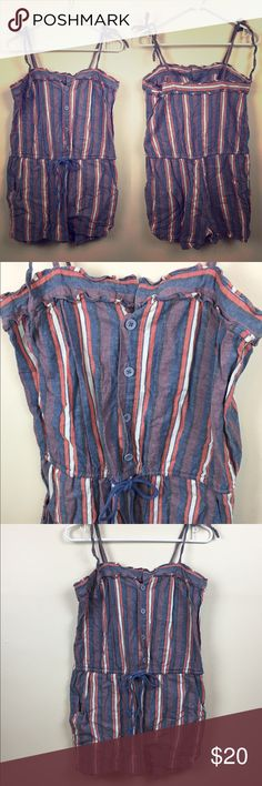 UO Striped pink purple white romper with pockets Cooperative for Urban Outfitters, pink and purple striped romper. A comfortable loose fitting romper with tie straps to adjust length. Has pockets! And a tie waist. Made of cotton and linen. Size Medium. Length 22 in. Chest 17 in across. Urban Outfitters Pants Jumpsuits & Rompers