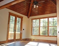 Sunroom from the Cedar Ridge Plan 1125-D http://www.dongardner.com/plan_details.aspx?pid=3151 A sunroom, rear deck and screened porch are all on the main level, while the lower level boasts a screened porch with summer kitchen, as well as a second covered porch. #Rustic #Craftsman #House #Designs