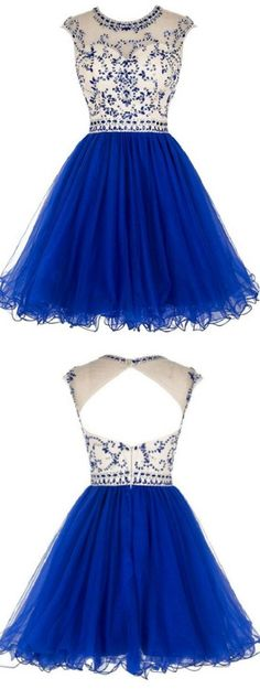 A-line/Princess Homecoming Dresses, Royal Blue Homecoming Dresses, Short Homecoming Dresses, Short Royal Blue Homecoming Dresses With Pleated Mini Round Sale Online, Royal Blue dresses, Blue Homecoming Dresses, Royal Blue Short dresses, Short Blue Dresses, Homecoming Dresses Short, Blue Short Dresses
