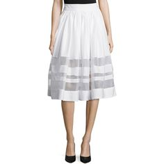 Alice + Olivia Misty Sheer-Inset A-Line Skirt (5.546.075 IDR) ❤ liked on Polyvore featuring skirts, white, white skirt, zipper skirt, alice olivia skirt, white a line skirt and see through skirt