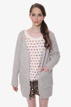 Retro Wool-blend Cardigan In Gray