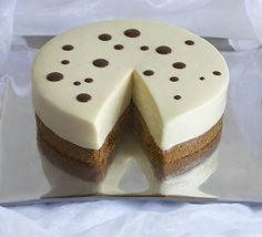 white chocolate torte with shiny chocolate sauce | with a change in coloring, could easily turn into a cute lady bug torte