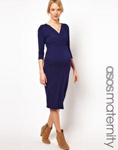 Vestido de tubo con parte delantera cruzada de punto elástico de ASOS Maternity, 42,02€. nodbonevents.wordpress.com