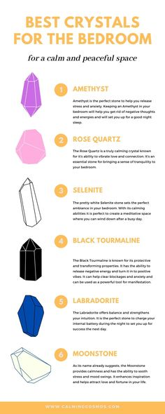 Learn all about the best types of calming crystals to keep in your bedroom for a good night's sleep. If you're feeling interested, click to read the in-depth article! #crystals #crystalhealing #calmingcrystals #crystalsforsleep #selenite #amethyst #rosequartz #blacktourmaline #labradorite #moonstone #crystalsfordreams #usingcrystals #empathscrystals #rocksandcrystals Crystal Healing Chart, Best Healing Crystals, Crystal Guide, Crystal Magic, Chakra Crystals, Crystals And Gemstones, Stones And Crystals, Types Of Crystals, Crystals For Sleep