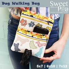 Dog Walking Bag In The Hoop Machine Embroidery Design ITH pouch - Sweet Pea
