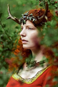 Myrna Moonshine in antlers. Photo by Laura Sheridan art. #celtic