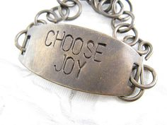 "This bracelet is a lovely reminder of the choice I must remember to make each day.  Someone who chooses joy? Yes, that is who I want to be.  Hand Stamped ""Choose Joy"" Bracelet from Etsy.com shop ""Cobweb Corner"""