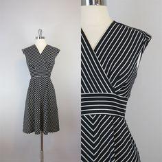 vintage chevron stripe dress / 1970s dress / by archetypevintage, $40.00
