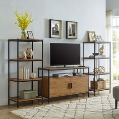CAFFOZ Furniture Designs 4 Tier Bookshelf Industrial Bookcase with Modern Open Shelves, Media Storag Office Storage, Storage Shelves, Adjustable Shelving, Open Shelving, Tv Media Stands, Cool Tv Stands, Entertainment Center, Bookshelves, Console