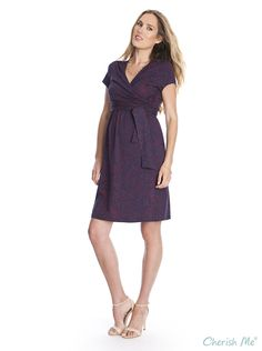 Seraphine Abba Maternity & Nursing Dress -  Printed Navy/Red