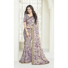 Beautifully Printed Georgette Saree from the House of Vinay Fashions. Elegance is marked with this Stylish Saree that is Toped up with Embroidered Blouse! Georgette Sarees, Lehenga Choli, Sari, Bollywood Party, Stylish Sarees, Casual Saree, Beautiful Saree, Saree Collection, Indian Ethnic