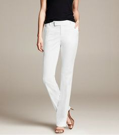 @Who What Wear - Banana Republic Martin Fit White Sateen Straight Leg Pants ($80)  White trousers are a perfect canvas for playing with color.
