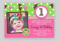 Girl Monkey Birthday Invitation  Girls by TheTrendyButterfly