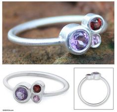 Amethyst and sapphire cocktail ring - Chiang Mai Majesty | NOVICA