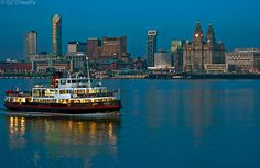 Ferry across the Mersey - Liverpool with the Liver building in background