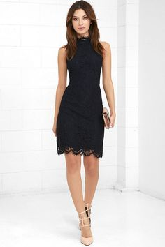 Make room in your closet for your new fave, the BB Dakota Cara Navy Blue Lace Dress! Lovely eyelash lace creates an eye-catching overlay across knit fabric. A halter neckline (with double covered button closure) tops a princess seamed bodice, and figure-skimming skirt with scalloped hem. Open back with modesty clasp and hidden zipper.
