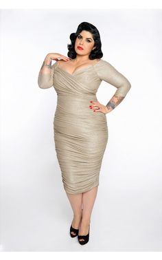 7ed20a117e5 Monica Dress in Champagne and Silver Lurex Knit - Plus Size Evening Dresses Plus  Size