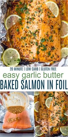 This Tender Garlic Butter Baked Salmon in foil comes together in just 20 minutes! This easy salmon recipe is slathered in a honey garlic butter sauce then baked in a foil packet for the perfect flaky bite. Guaranteed to be your new favorite dinner recipe! Grilled Salmon Recipes, Baked Salmon Recipes, Fish Recipes, Seafood Recipes, Oven Baked Salmon, Salmon In Oven Foil, Cooking Salmon In Foil, Salmon Seasoning Baked, Sauce For Grilled Salmon