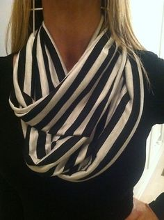 Infinity Scarf Black and White Stripe | eBay