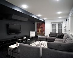 decoração de home theaters com sofás modernos