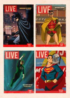 Magazine covers: Batman, Robin, Green Lantern, and Superman.