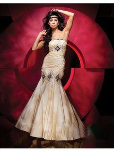 Taffeta Mermaid Strapless Dress Gathered Empire Bodice Prom Dress