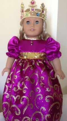 Royal Purple Princess Dress and Crown by DollsDreamClothes on Etsy
