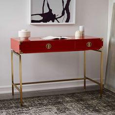 Cute desk.  $550  Malone Campaign Desk - Vermilion | west elm