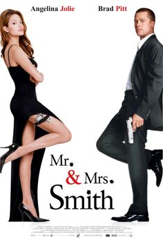 Mr. & Mrs. Smith (2005) A bored married couple is surprised to learn that they are both assassins hired by competing agencies to kill each other.  #movie