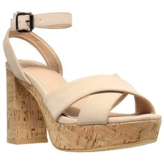 c8e0c5360d5 SOBEYO Womens Platform Sandals Ankle Strap Wrapped Cork Chunky Block Heel  Shoes. Run 1%