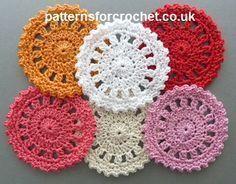 Free crochet pattern for round coaster http://www.patternsforcrochet.co.uk/round-coaster-usa.html #patternsforcrochet