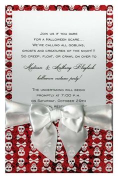 Crossbones Red with White Bow #skulls #halloween #fall #autumn #party #event #invite #invitation #invitationbox #design #interesting #pinterest #scary #spooky
