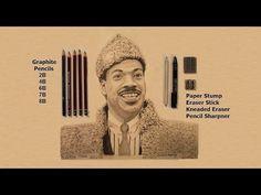Timelapse Pencil Sketch of Prince Akeem, Eddie Murphy, Graphite Pencil Drawing (Coming to America) Pencil Art, Pencil Drawings, Pencil Sketching, Eddie Murphy, Murphy Actor, Drawing Tips, Drawing Drawing, Graphite Drawings, Drawing Challenge