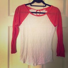 J. Crew Orange and White Raglan Tee J. Crew orange and white baseball style tee. Lightweight with a burnout pattern makes this shirt slightly sheer. Small keyhole back with a button. J. Crew Tops