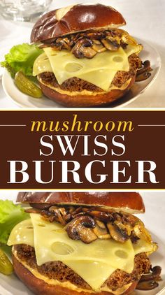 This juicy, all-beef burger is smothered in sauteed mushrooms and creamy Finlandia Swiss and served on a pretzel bun.
