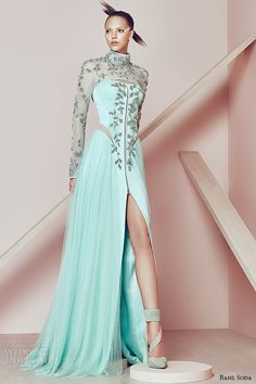 basil soda couture 2015 dress high neckline long sheer sleeves high split gown