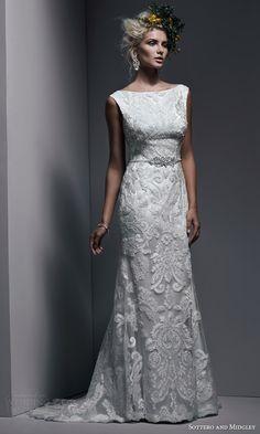 jaimeson bateau neckline lace tulle sleeveless sheath wedding dress swarovski crystal pearl belt